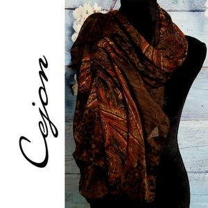 Cejon Infinity Scarf Red/Brown NWT